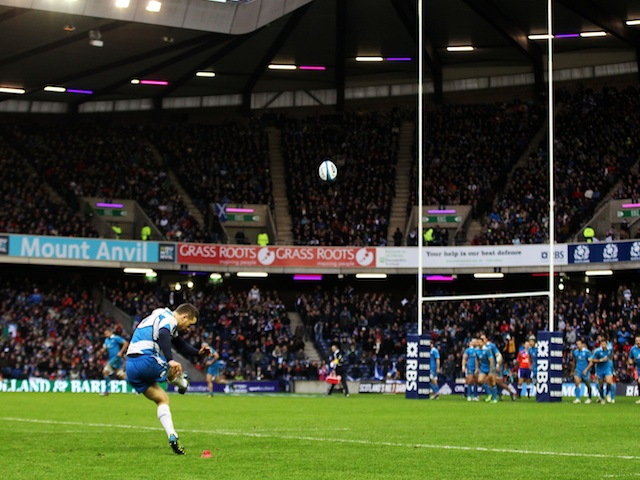 Scotland's Greig Laidlaw kicks a conversion in the game against Italy on February 9, 2013