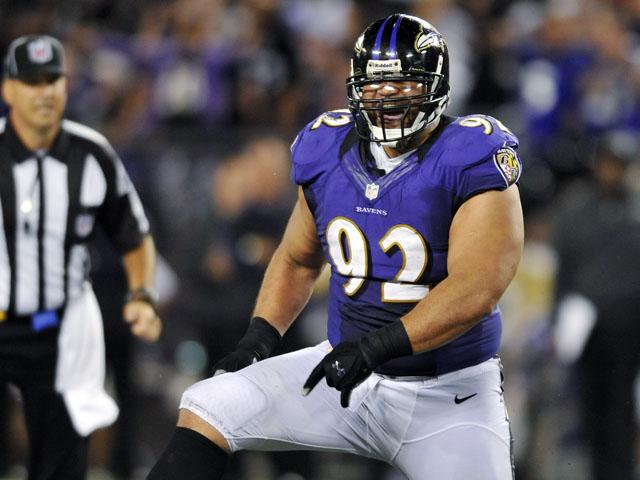 Baltimore Ravens defensive tackle Haloti Ngata reacts after sacking Andy Dalton on September 10, 2012