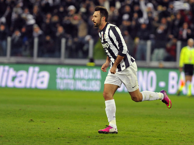 Mirko Vucinic celebrates after scoring for Juventus during their match with Fiorentina on February 9, 2013