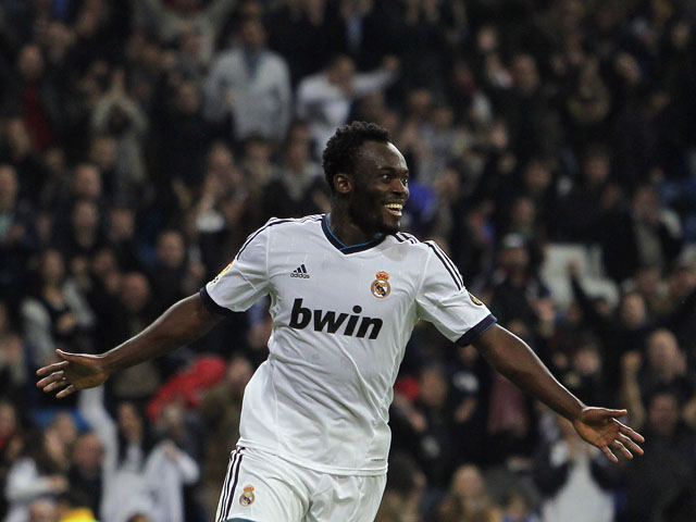 Real Madrid's Michael Essien celebrates scoring during his side's match with Zaragoza on November 3, 2012
