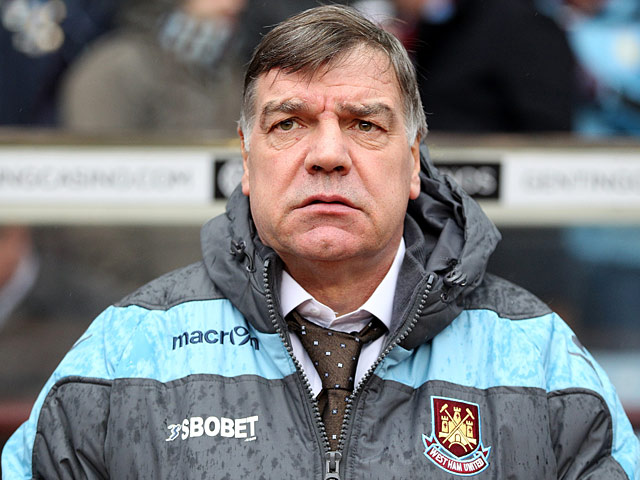 West Ham manager Sam Allardyce prior to kick-off against Aston Villa on February 10, 2013