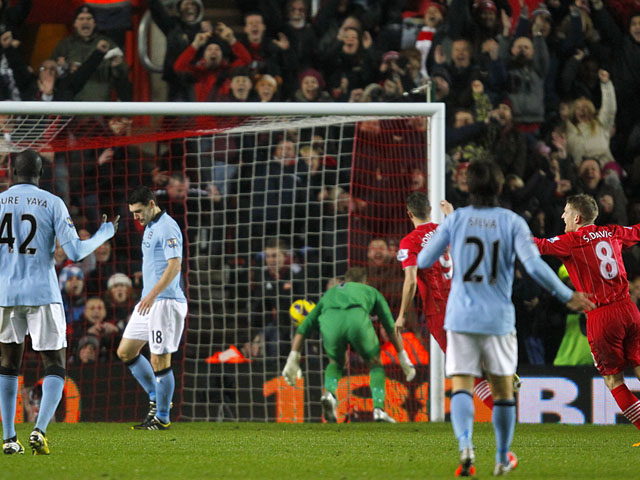 Southampton players celebrate following Gareth Barry's own goal on February 9, 2013