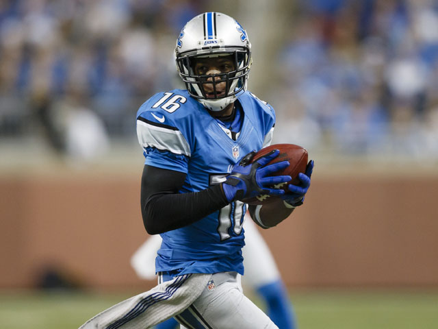 Detroit Lions wide receiver Titus Young after making a reception during his side's match with the Green Bay Packers on November 18, 2012