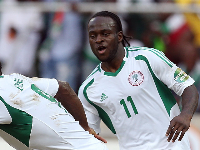 Nigeria's Victor Moses in action during the Africa Cup of Nations on January 25, 2013