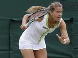 Barbora Zahlavova-Strycova in action at Wimbledon on June 26, 2012