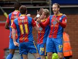 Crystal Palace's Glenn Murray is congratulated by team mates after scoring the opener against Middlesbrough on February 16, 2013