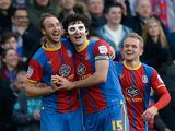 Palace's Glenn Murray celebrates with team mates Mile Jedinak and Jonathan Williams after scoring his second against Middlesbrough on February 16, 2013