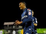 Oldham's Jordan Obita celebrates the opening goal against Everton in the FA Cup 5th round on February 16, 2013
