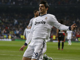 Real Madrid's Alvaro Morata celebrates scoring against Rayo Vallecano on February 17, 2013