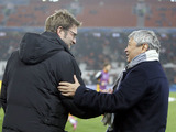 Shaktar Donetsk coach Mircea Lucescu and Dortmund coach Jurgen Klopp before their sides clash on February 13, 2013