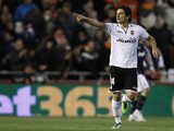 Valencia's Tino Costa celebrates scoring during his side's match against Real Madrid on January 23, 2013