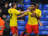 Watford's Troy Deeney is congratulated by team mates after scoring the opening goal against Birmingham on February 16, 2013