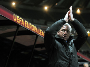 Newcastle United manager Alan Pardew before kick-off in the Europa League tie against Metalist Kharkiv on February 14, 2013