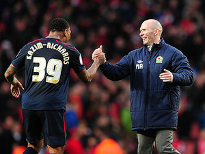 Blackburn's Colin Kazim-Richards celebrates with manager Michael Appleton after scoring the winner against Arsenal in the FA Cup 5th round on February 16, 2013