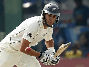 New Zealand captain Ross Taylor plays a shot on November 25, 2012