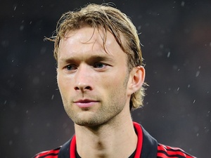 Bayer Leverkusen's Simon Rolfes before a game with Barcelona on February 14, 2012