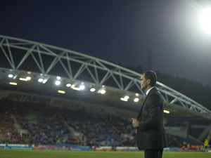 Wigan manager Roberto Martinez watches his side in action against Huddersfield during their FA Cup fifth round match on February 17, 2013