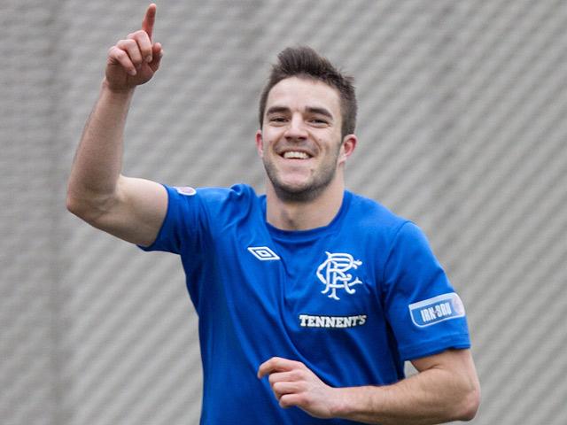 Rangers' Andrew Little celebrates scoring the opener against Clyde on February 16, 2013