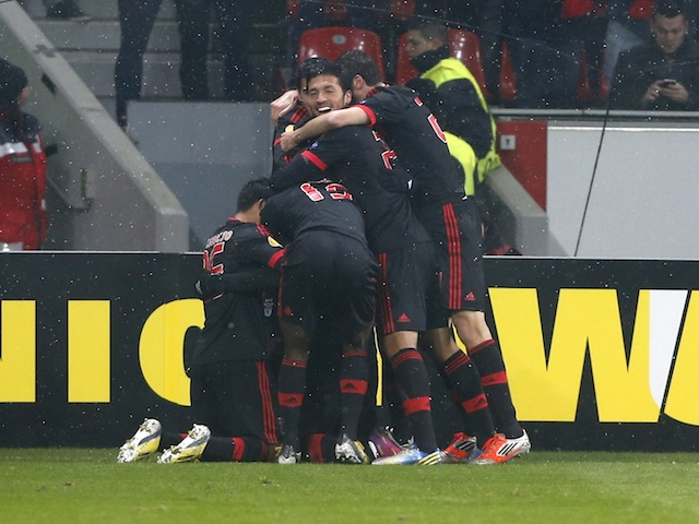 Benfica players celebrate a goal by Oscar Cardozo on February 14, 2013