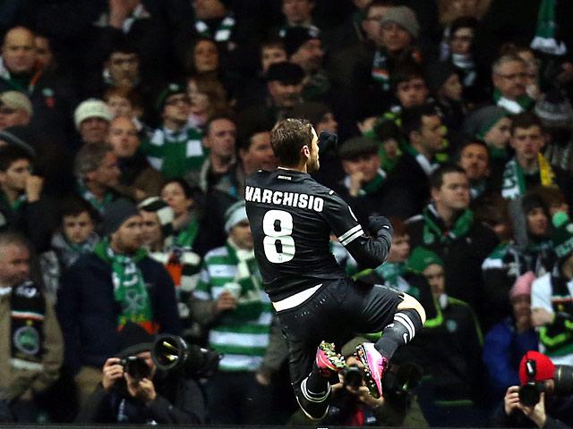 Juventus' Claudio Marchisio celebrates his goal against Celtic on February 12, 2013