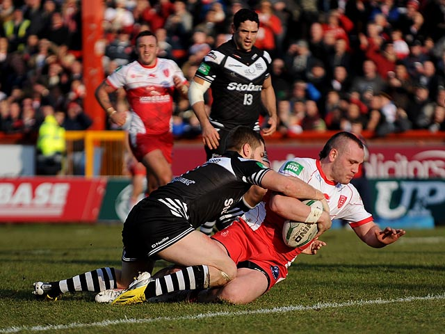 Hull KR's Dale Ferguson scores his team's third try against Widnes Vikings on February 17, 2013