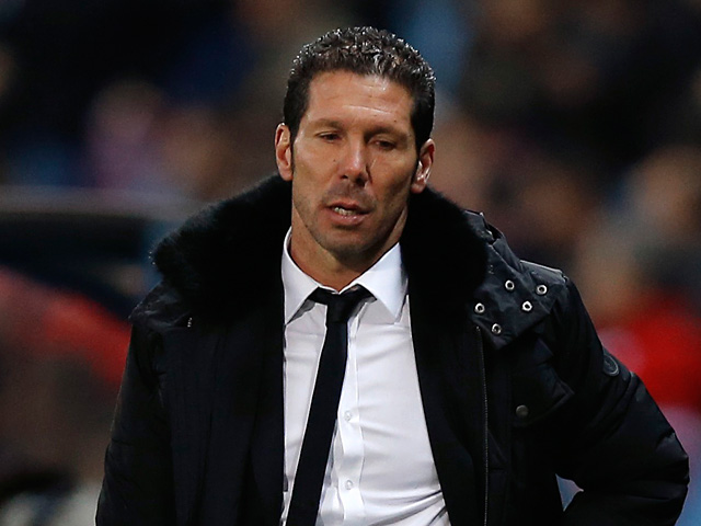 Atletico Madrid boss Diego Simeone during the Europa League match against Rubin Kazan on February 14, 2013