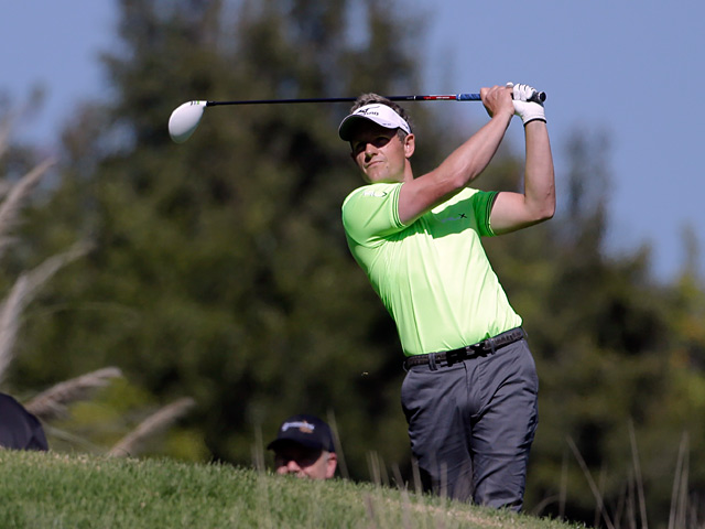 Luke Donald plays a shot during the Northern Trust Open on February 14, 2013