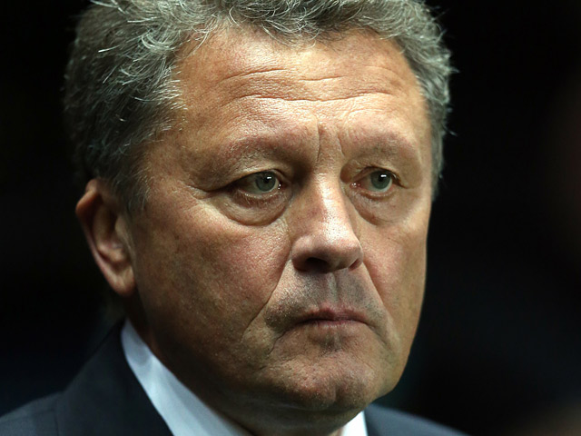 Metalist Kharkiv boss Myron Markevich during the Europa League match against Newcastle on February 14, 2013
