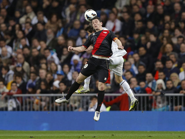 Rayo Vallecano's Piti heads the ball in his side's match against Real Madrid on February 17, 2013