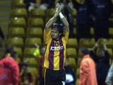 Bradford's Benito Carbone celebrates a goal against Stockport on September 25, 2001
