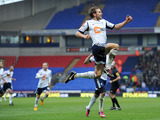 Bolton Wanderers' Craig Dawson celebrates scoring his second goal against Hull on February 23, 2013