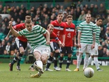 Celtic's James Forrest scores a penalty against Dundee on February 24, 2013