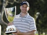 John Merrick celebrates his win in the Northern Trust Open on February 17, 2013