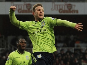 Villa forward Andreas Weimann celebrates his equaliser against Arsenal on February 23, 2013