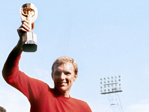 Bobby Moore with the World Cup on July 30, 1966