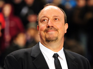 Chelsea interim manager Rafa Benitez smiles prior to kick-off against Sparta Prague on February 21, 2013