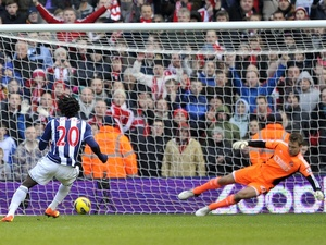West Brom forward Romelu Lukaku opens the scoring with a penalty against Sunderland on February 23, 2013