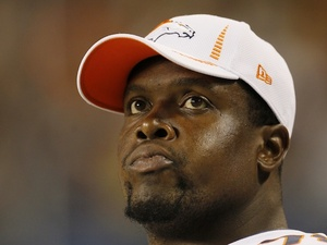 Broncos' Ryan Clady on the sidelines during the game with Chicago on August 9, 2012