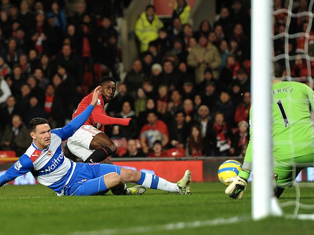 United's Danny Welbeck has a shot saved by Adam Federici on February 18, 2013