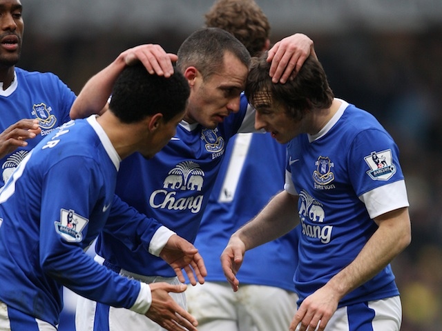 Everton's Leon Osman celebrates his goal against Norwich with teammates on February 23, 2013