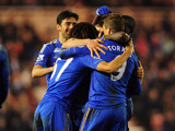 Chelsea players after their first goal against Middlesbrough on February 27, 2013