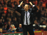 Chelsea interim manager Rafael Benitez gestures wildly during his side's match with Middlesbrough on February 27, 2013