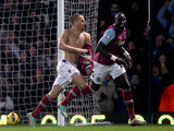 West Ham United's Joe Cole celebrates after scoring his side's second goal against Tottenham on February 25, 2013