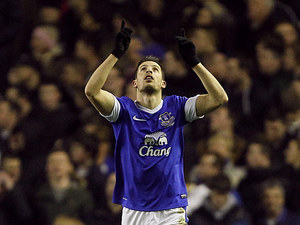 Everton's Kevin Mirallas celebrates scoring the opening goal in the FA Cup 5th round replay against Oldham on February 26, 2013