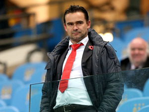 Marc Overmars watches Manchester City against Ajax in the Champions League on November 6, 2012