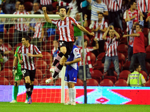 Athletic Bilbao's Markel Susaeta celebrates scoring against Hapoel Kiryat Shmona on September 20, 2012
