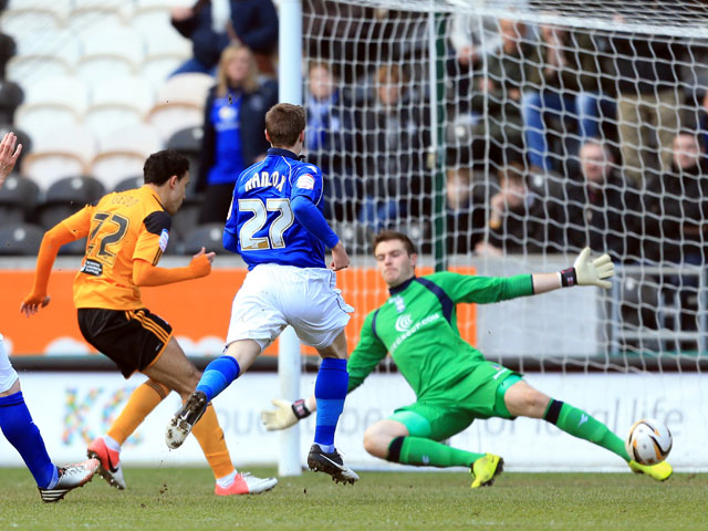 Hull City's Gedo scores his side's second goal against Birmingham on March 2, 2013