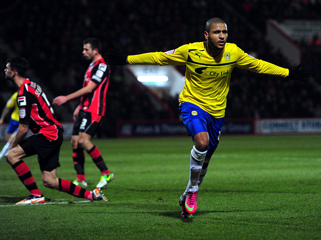 Coventry's Leon Clarke celebrates after scoring the opener against Bournemouth on February 26, 2013