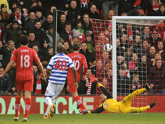 Southampton's Gaston Ramirez scores his side's first goal against QPR on March 2, 2013
