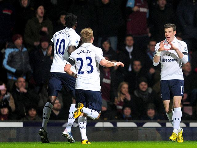 Tottenham Hotspur's Gareth Bale celebrates scoring his side's first goal against West Ham United on February 25, 2013